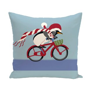 Pedaling Penguin Decorative Holiday Print Polyester Throw Pillow