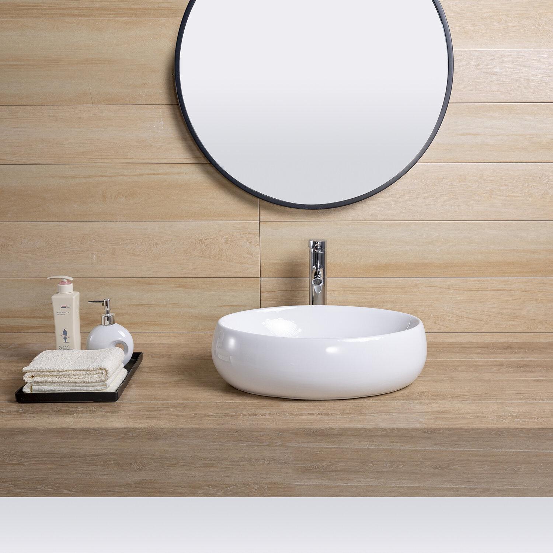 Pengfang Worldwide Llc White Ceramic Oval Vessel Bathroom Sink Wayfair