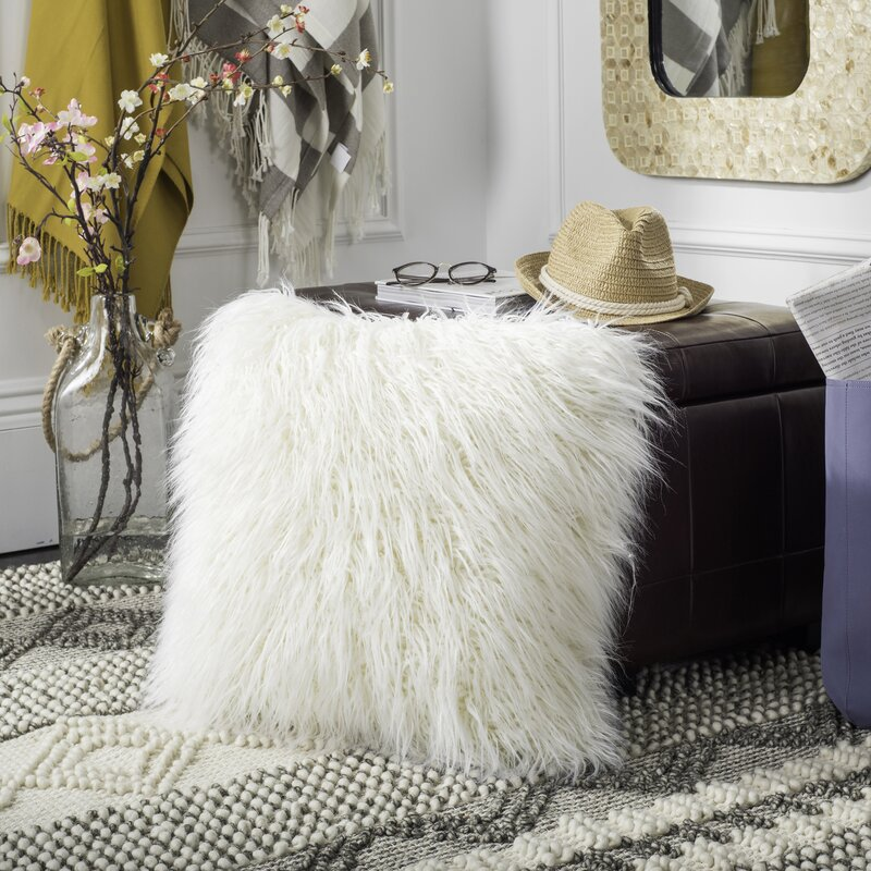 Everly Quinn Sandee Faux Flokati Fur Throw Pillow Reviews Wayfair Stunning Flokati Throw Blanket