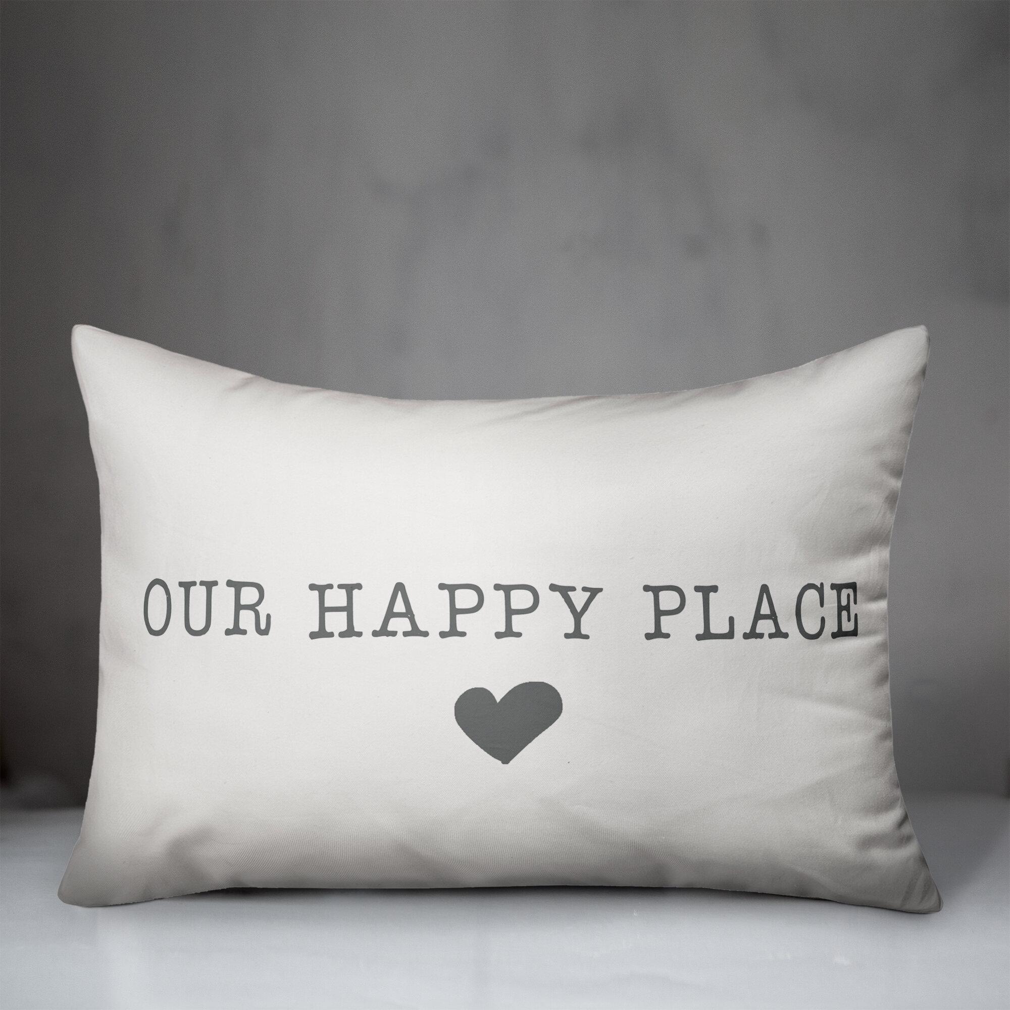 Winston Porter Tisdale Our Happy Place Indoor Outdoor Lumbar Pillow Reviews Wayfair