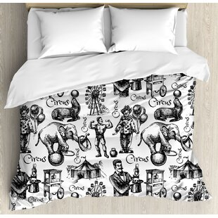 East Urban Home Modern Circus Quote and Themed Continuous Pattern with Magician Balloons Artwork Duvet Set