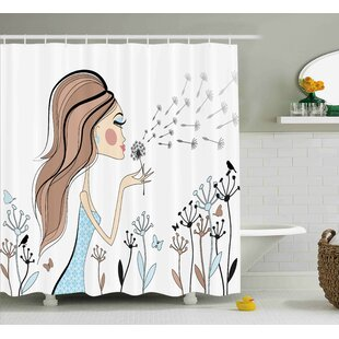 Anika Dandelion Flower Spring Single Shower Curtain