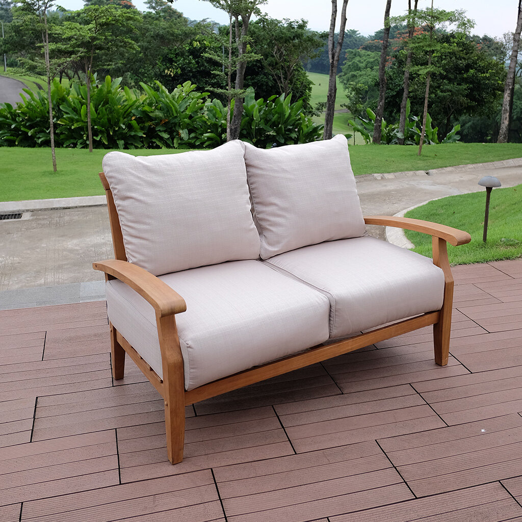 Birch lane heritage summerton teak loveseat with cushions reviews birch lane