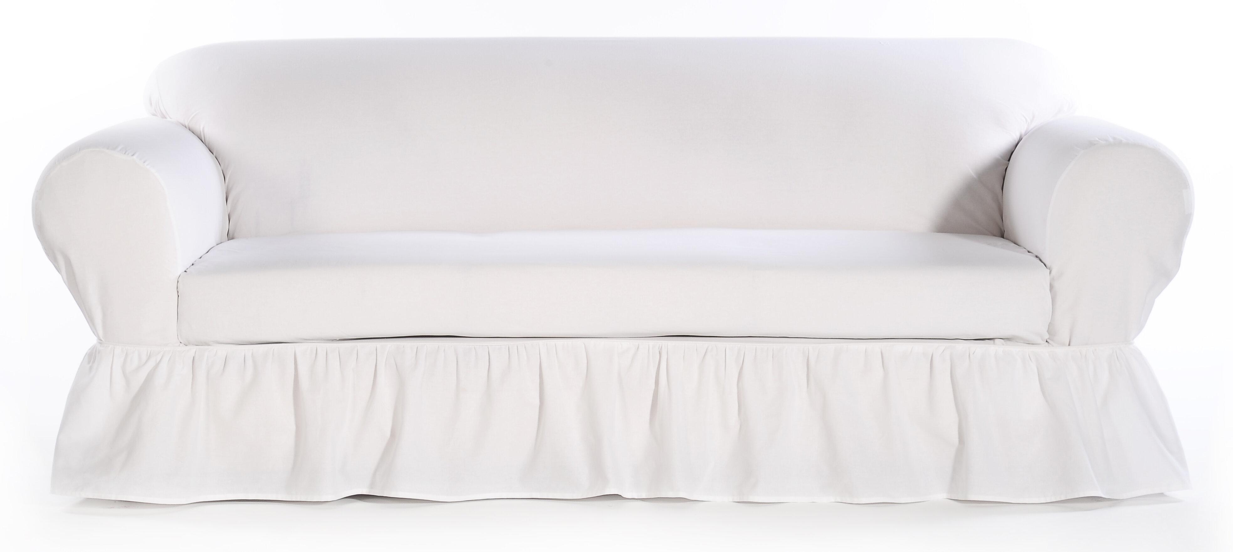 August Grove Sofa Skirted Box Cushion Slipcover Reviews Wayfair