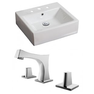 American Imaginations Ceramic Rectangular Vessel Bathroom Sink with Faucet..