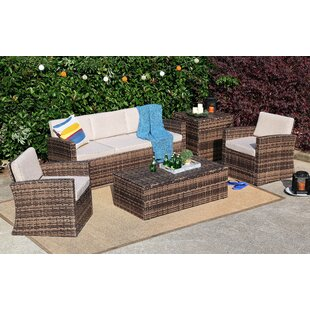 Brayson 5 Piece Rattan Sofa Seating Group with Cushions