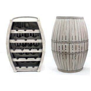 Clarice Antique Cool Half-Barrel Shaped Wooden 16 Bottle Floor Wine Rack