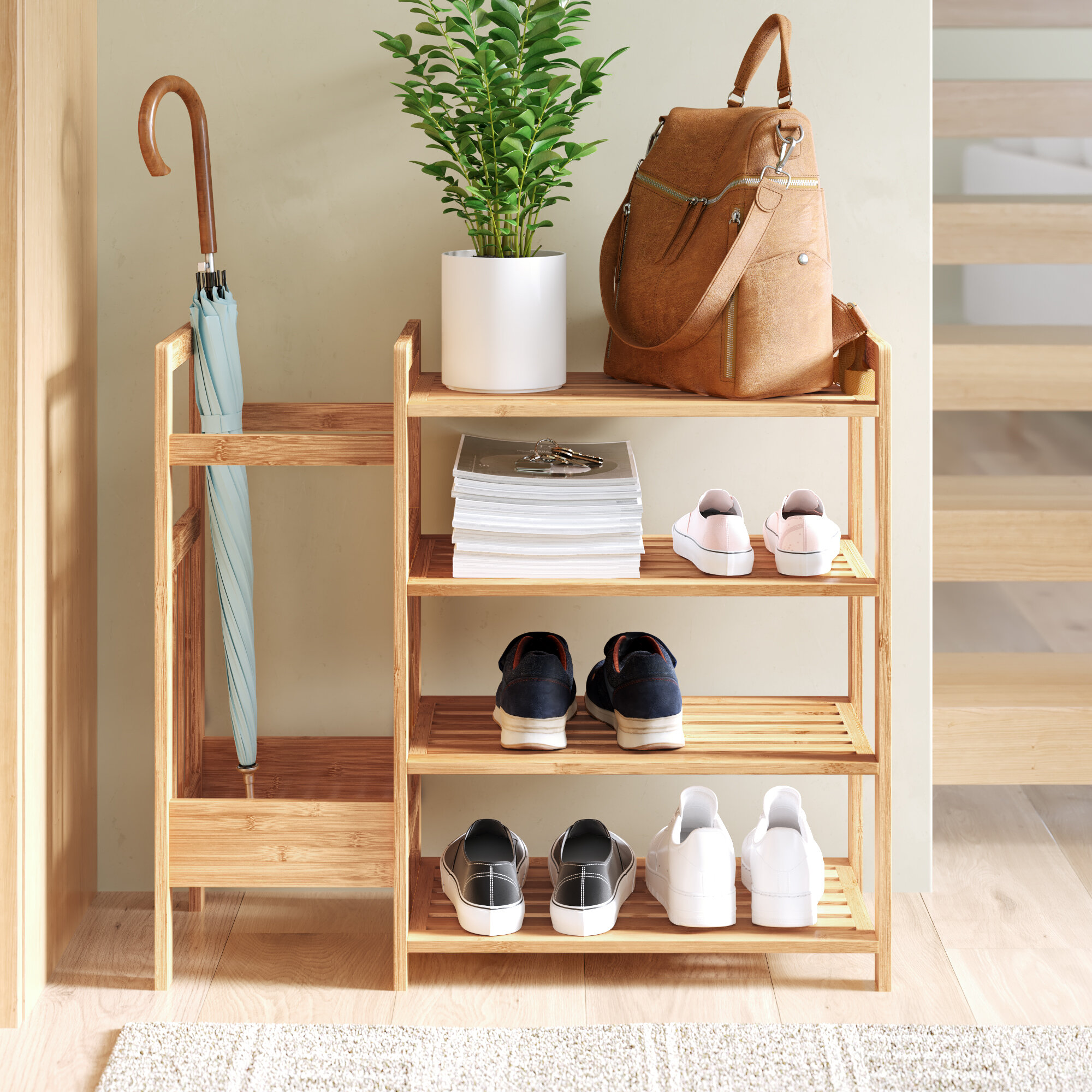 Honey-Can-Do Bamboo Style Tier Shoe Pair Storage Rack Holder Organizer Shelf