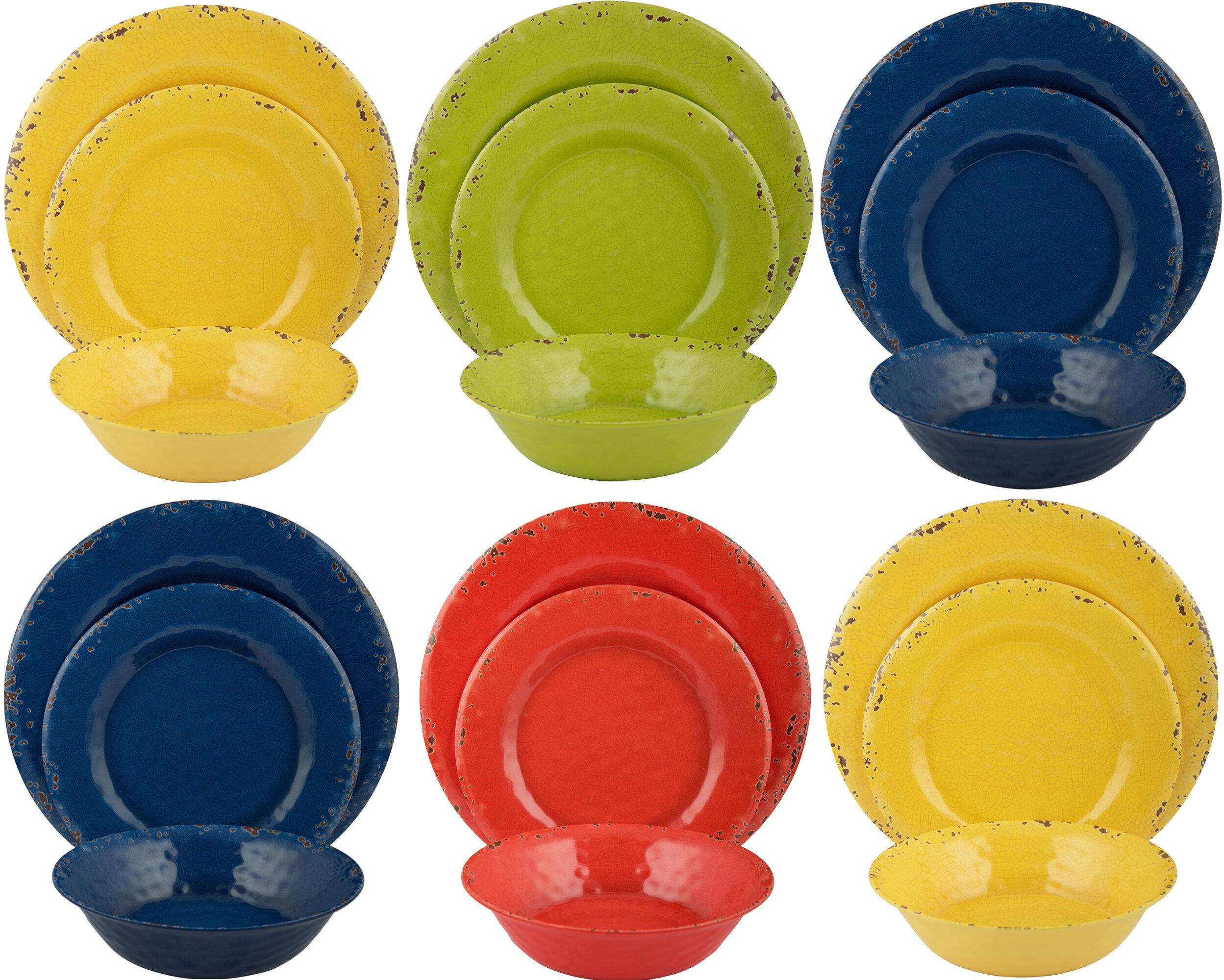 Table To Go Melange 18 Piece Melamine Dinnerware Set Service For 6 Reviews Wayfair