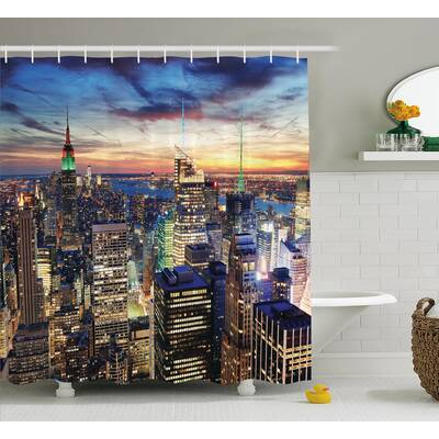 Landscape Urban Skyline Of NYC Shower Curtain