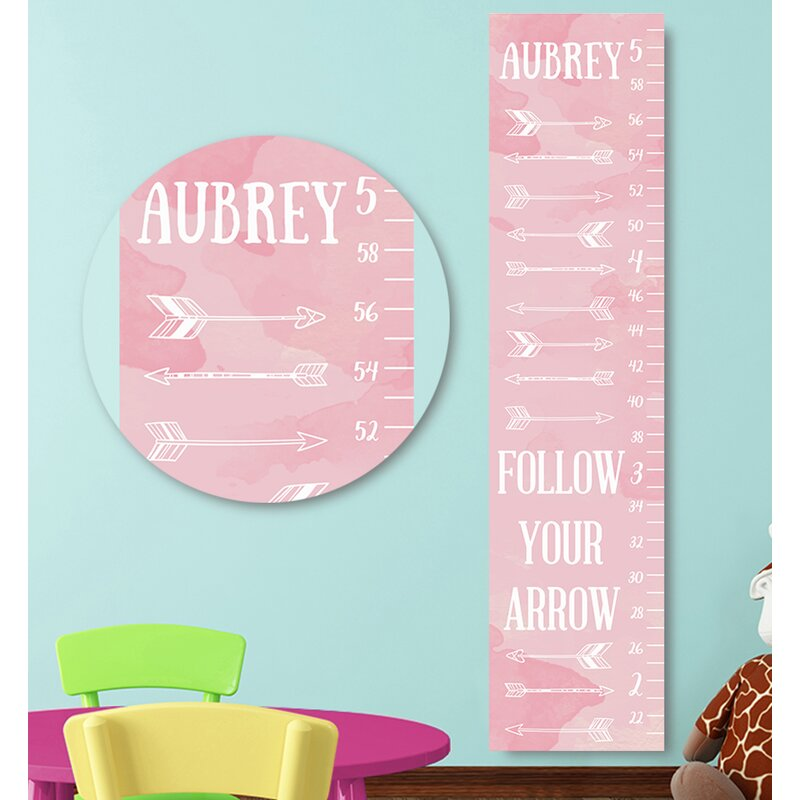 Jolie Prints Personalized Arrows Pink Canvas Decal Growth Chart