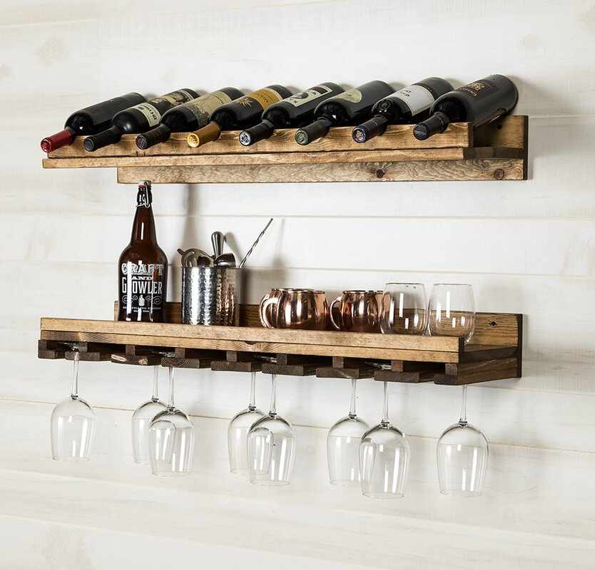 Wall Wine Racks Part - 22: Berlyn 2 Piece 8 Bottle Wall Mounted Wine Rack Set