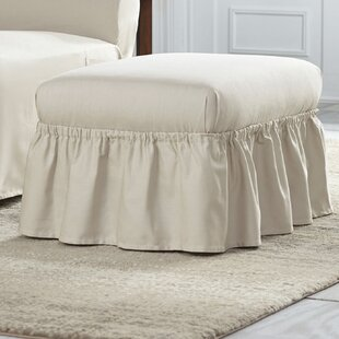 Cotton Duck Ruffle Ottoman Slipcover