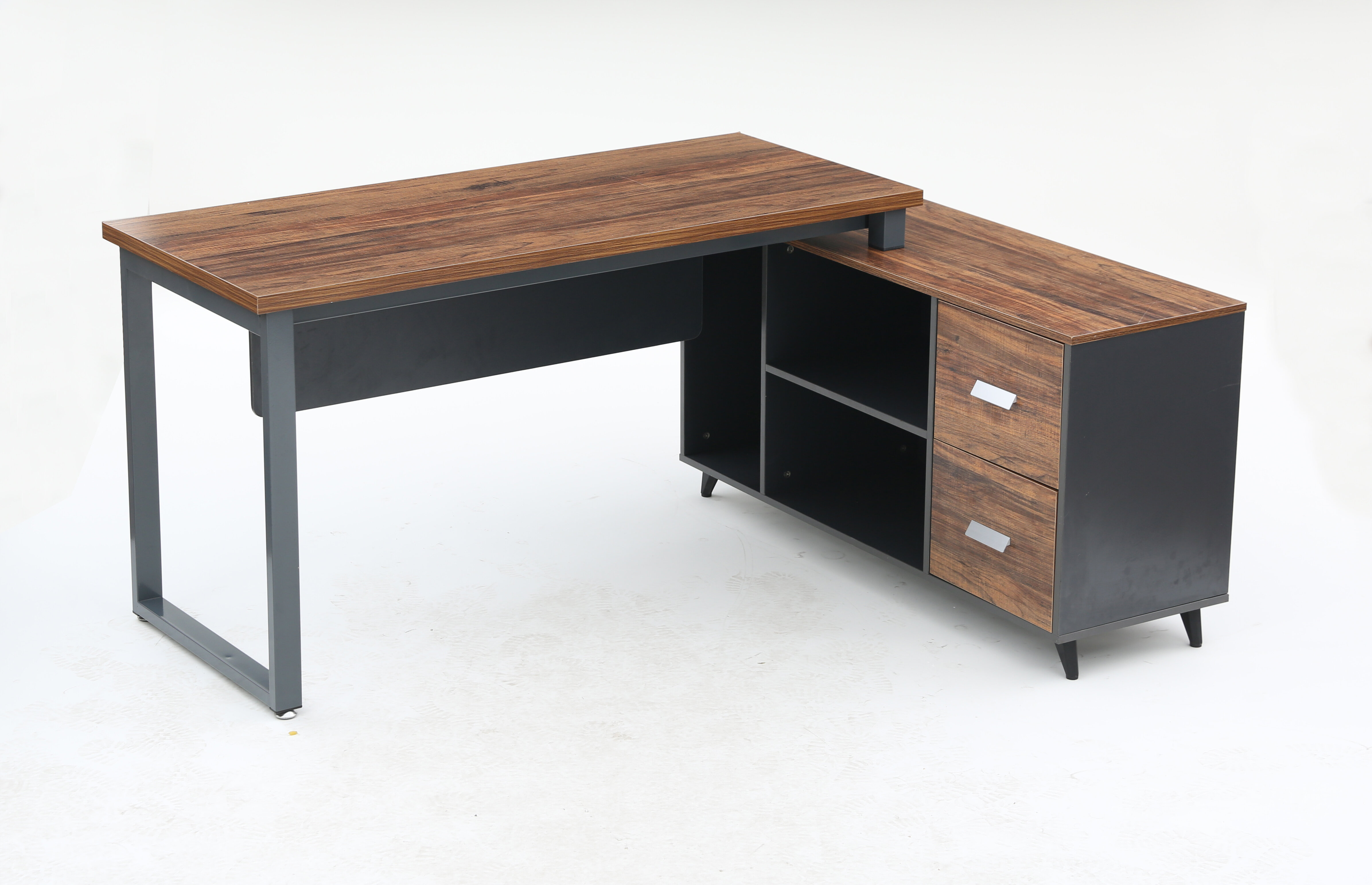 """Inbox Zero L Shaped Desk With Cabinet, 55"""" Executive Large"""