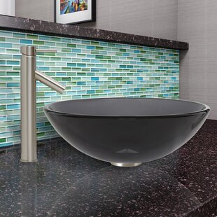 VIGO Sheer Glass Circular Vessel Bathroom Sink with Faucet