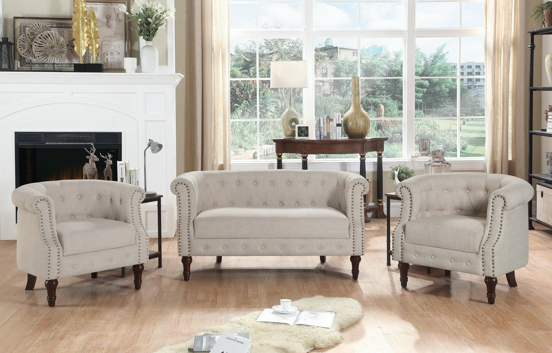 Alcott Hill® Kelty 3 Piece Standard Living Room Set & Reviews
