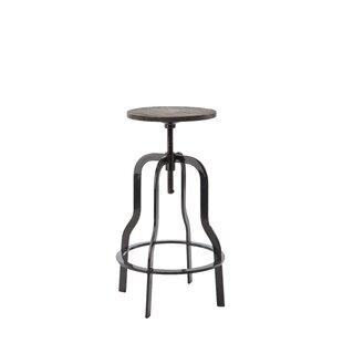 Perignan Adjustable Height Wood Top Bar Stool