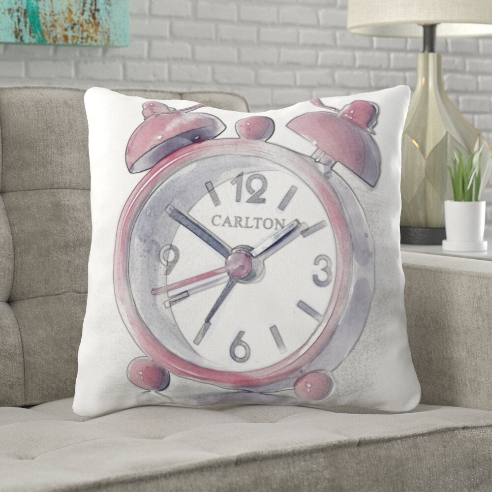 Wrought Studio Doric Alarm Clock Throw Pillow Wayfair