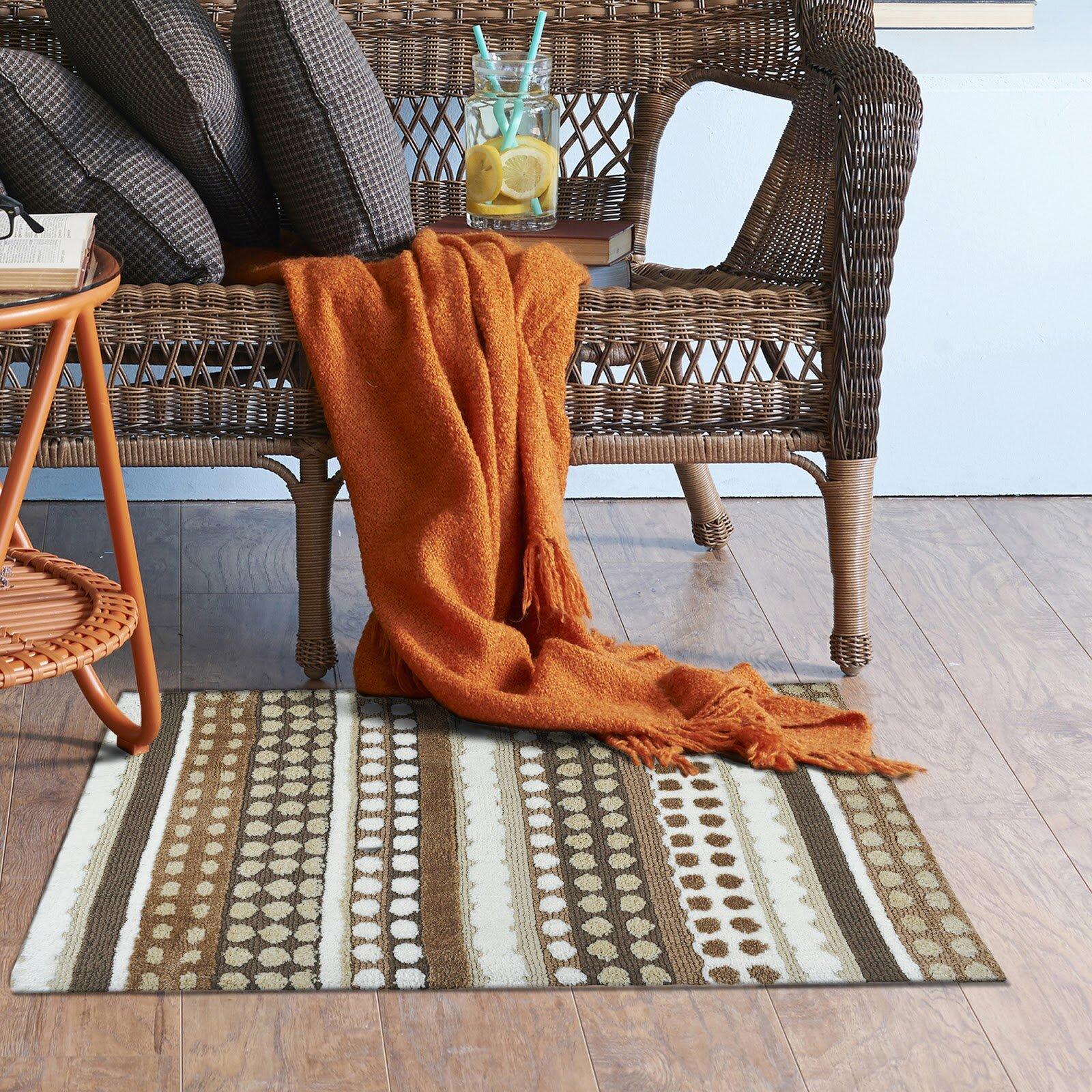 Wrought Studio Lennie Sweetheart Stripes Brown Area Rug Wayfair