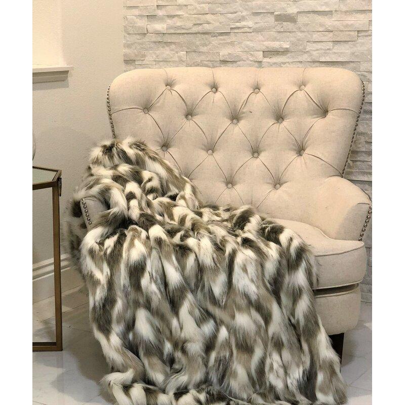 Super Luxe Fausse Fourrure Tissu Matériau-Texturé Crème /& Marron Chinchilla