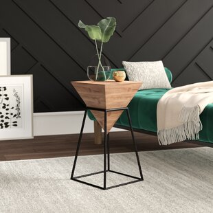 Laforge Small Wood Iron End Table by Mercury Row