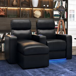 Modern Leather Home Theater Loveseat (Row of 2) by Red Barrel Studio