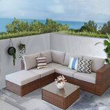 Chelsea-Lea 4 Piece Rattan Sectional Seating Group with Cushions by Latitude Run®