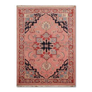 One Of A Kind Elder Traditional Persian Hand Knotted 5 11 X 9 3 Wool Pink Navy Blue Area Rug