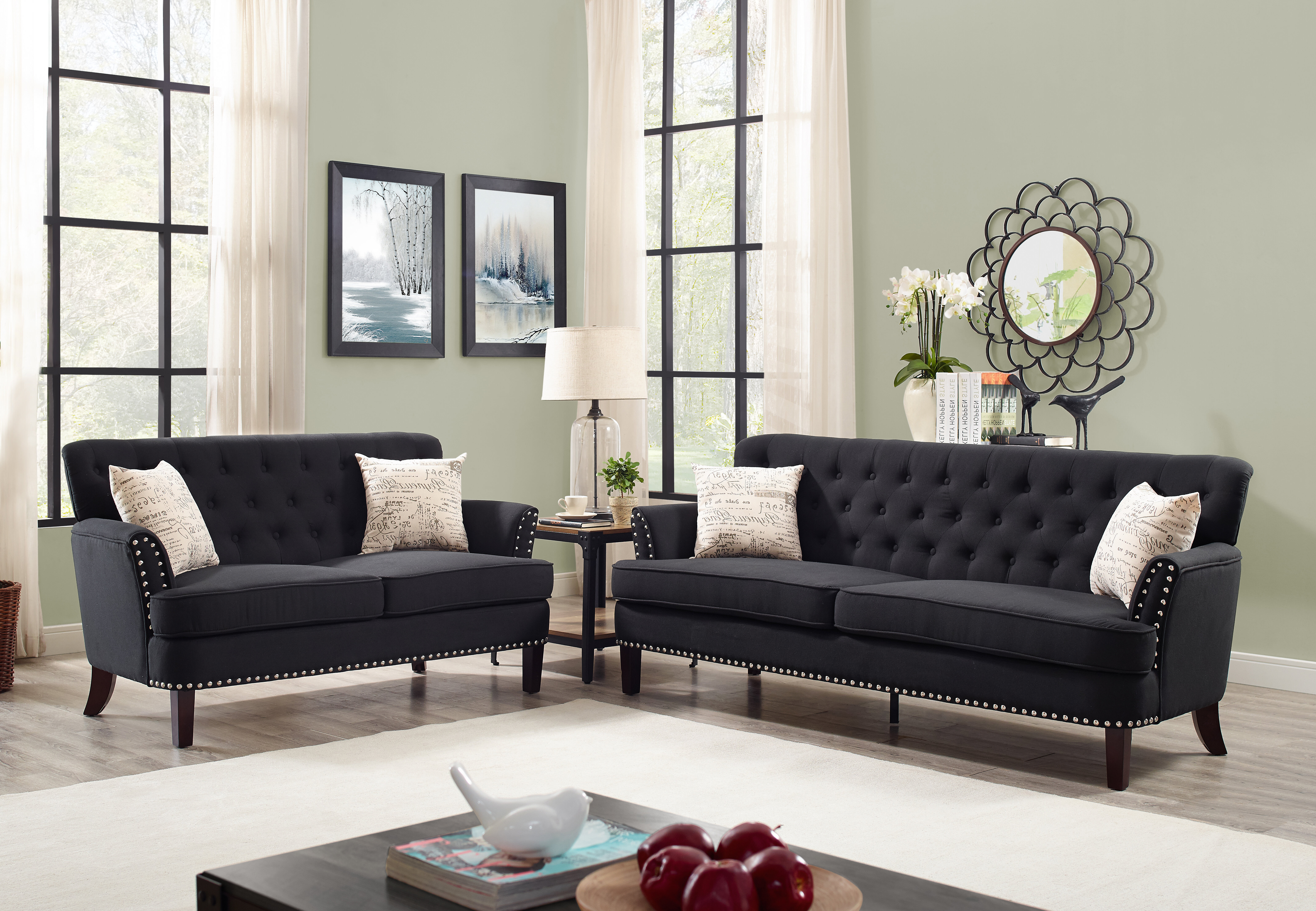 Canora grey quayle wing chesterfield nailhead 2 piece living room set wayfair ca