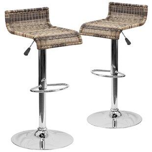 Gracie Oaks Iyana Adjustable Height Swivel Bar Stool (Set of 2)