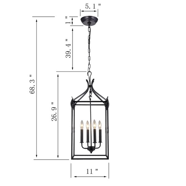 Gracie Oaks Chesa 4 Light Lantern Geometric Pendant Reviews Wayfair