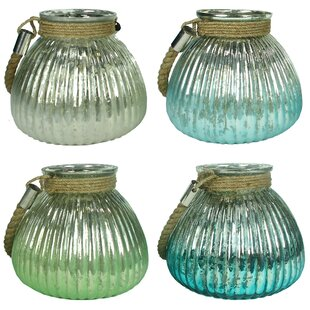 Glass Lantern (Set of 4) by Rosecliff Heights