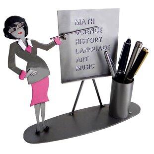 H & K SCULPTURES Teacher Female Pen Holder