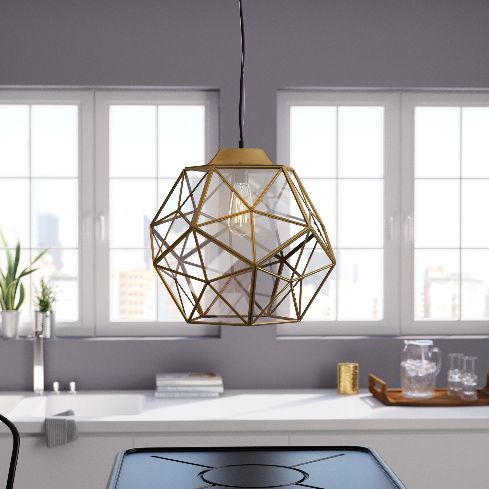 Brayden Studio Edelman 1 Light Single Geometric Pendant Reviews Wayfair Ca
