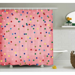Valerie Retro Classic Spots Design With Circles Geometric Decor Pink Background Image Single Shower Curtain by Harriet Bee #2