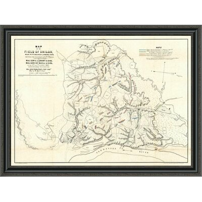 """Civil War Map of the Field of Shiloh; Near Pittsburgh Landing; Tennessee; 1862' Framed Print East Urban Home Size: 26.028"""""""" H x 36"""""""" W x 1.5"""""""" D -  EUAH2946 39637250"""