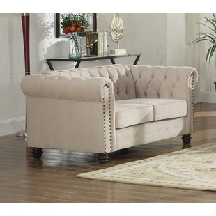 Borica Nailhead Living Room Chesterfield Loveseat