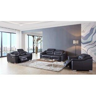Orren Ellis Rafe Reclining 3 Piece Leather Living Room Set