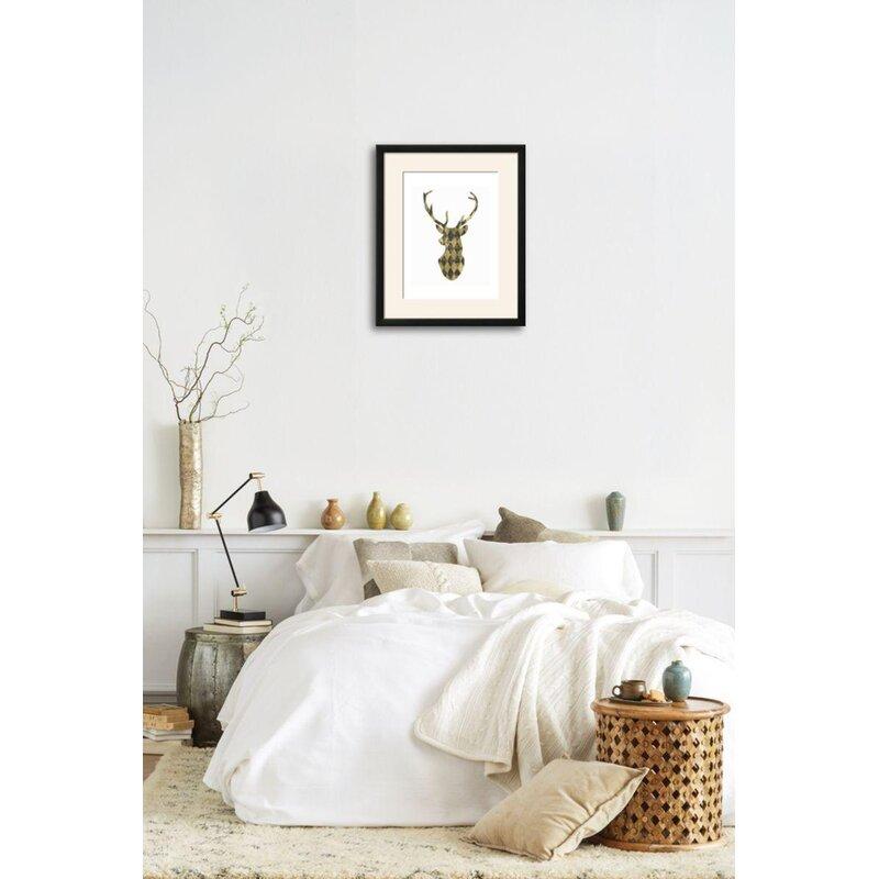 Wrought Studio \'Gold Chalkboard Deer Head on White\' Framed Graphic ...