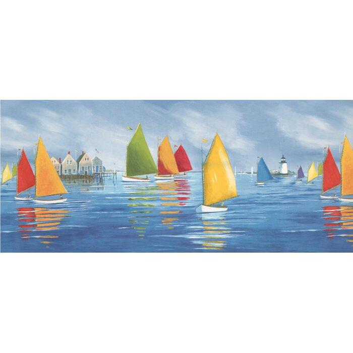 Sailboats Regatta Lighthouse 15 L X 10 25 W Abstract Wallpaper Border