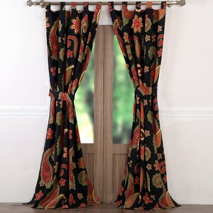 Midnight Paisley Sheer Tab Top Curtain Panel (Set of 2)