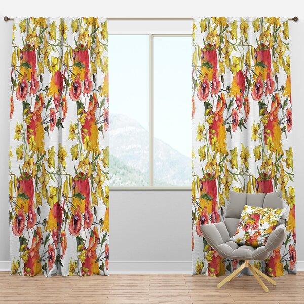 Designart Mid Century Handdrawn Poppies Iv Floral Semi Sheer Thermal Rod Pocket Curtain Panels Wayfair