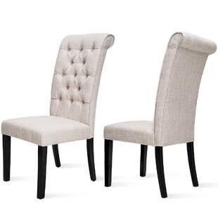 Lauring Tufted Linen Upholstered Parsons Chair Set of 2