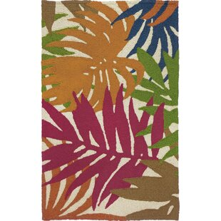 Waldport Colorful Palms Hand-Hooked Tan Indoor/Outdoor Area Rug by Bay Isle Home