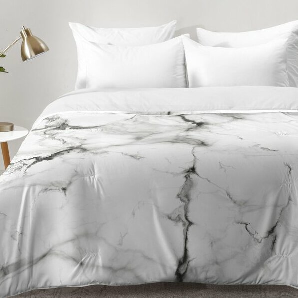 Buffalo marble comforter set reviews allmodern for Black and white marble bedding