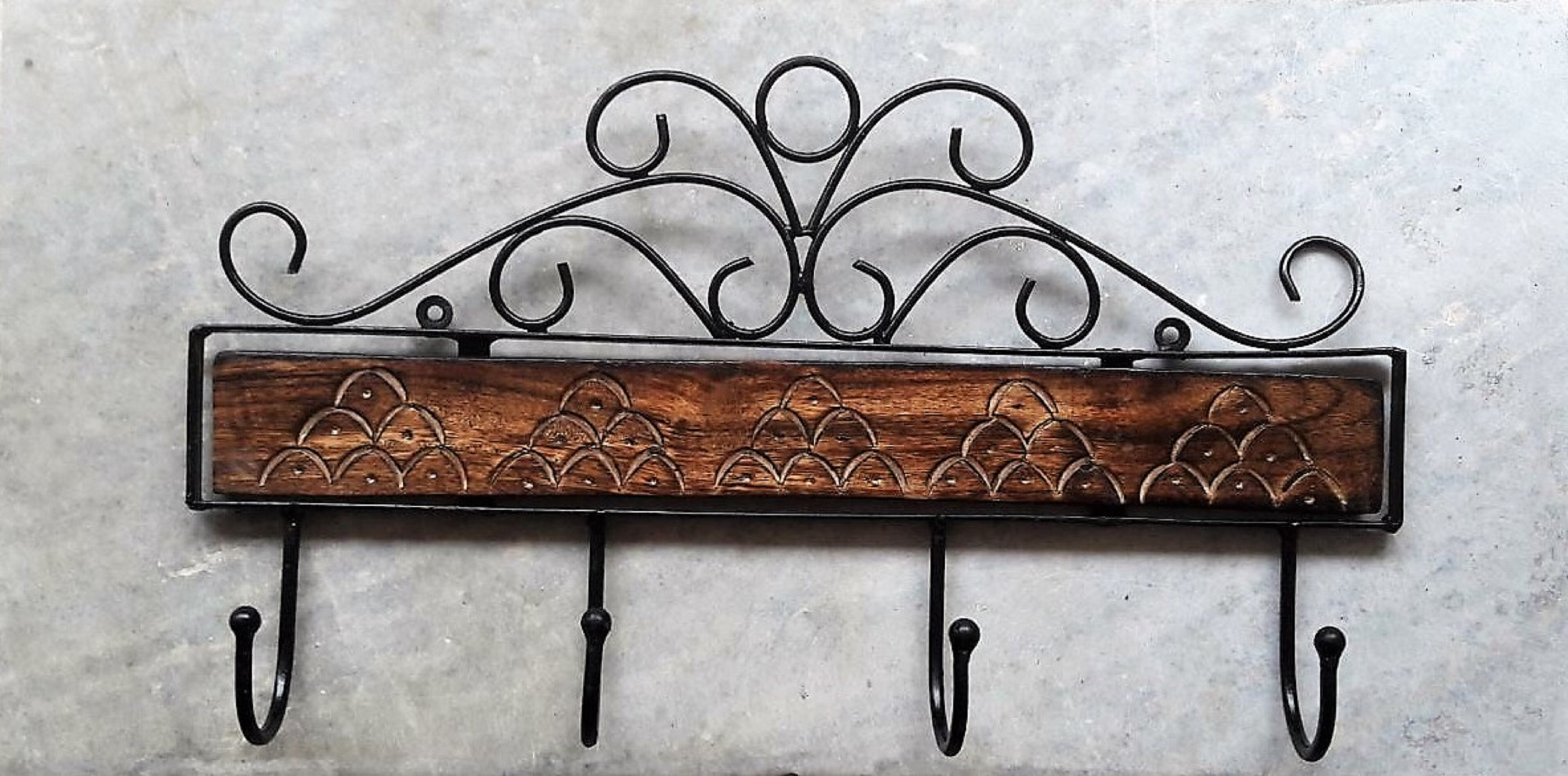 August Grove Petrick Wooden Wrought Iron Wall Mounted Coat Rack Wayfair