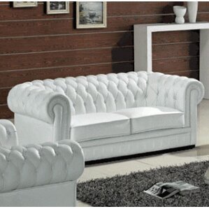 Botkin Leather Chesterfield Sofa by Orren Ellis