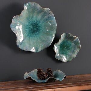 3 Piece Ceramic Flowers Wall Du00e9cor Set