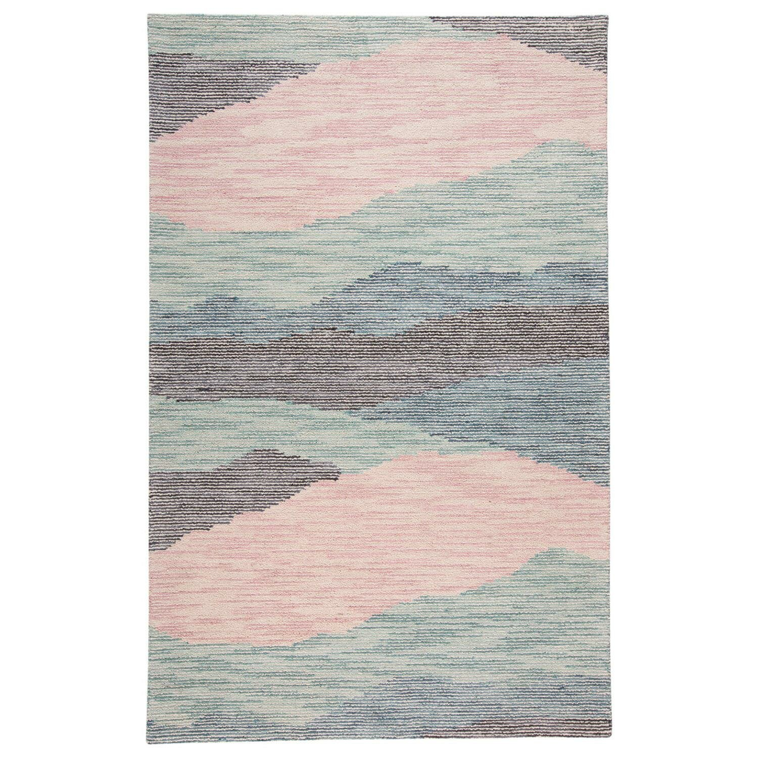 George Oliver Currie Hand Tufted Wool Cotton Blue Pink Gray Area Rug Reviews Wayfair