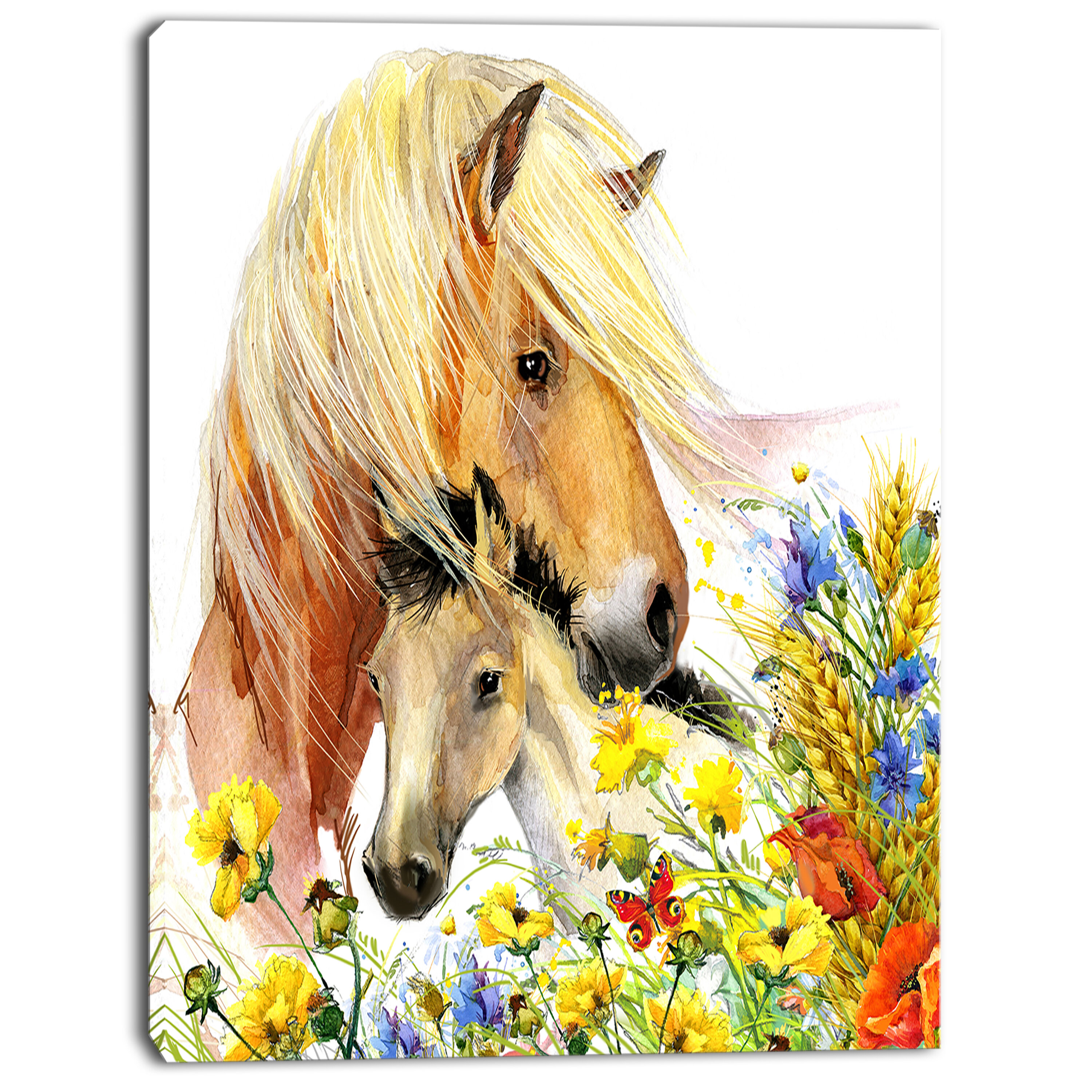Designart Animal Horse And Foal With Meadow Painting Print